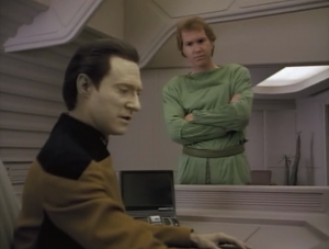 Tam gets sick of always hearing people's thoughts, so he really likes Data