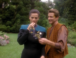"""In """"Meridian"""" a guy pulls some grapes out of a gross pond and they eat them. In the span of about 10 minutes Dax goes from being unsuccessfully hit on to her being willing to give up everything for this guy. Also, the other plot of this episode is a guy wanted to purchase a holodeck program of Kira because he finds her so attractive. Super creepy"""
