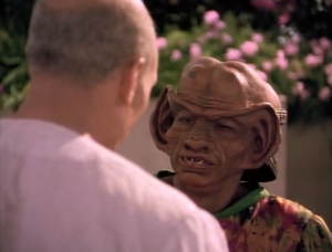 Everyone keeps bugging Picard, including Max Grodinchik (Rom). I think he uses the same teeth for Rom