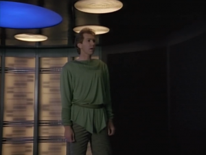 Enterprise beams aboard a Betazoid for a mission