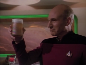 The duplicate Picard offers ales for everyone in 10-forward. A kind of meaningless gesture since they can just replicate their own