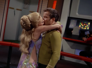 """In """"Wink of an Eye"""" a lady falls in love with Kirk. He's not that interested though"""