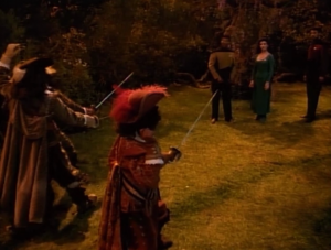 Barclay can't stay out of the holodeck. Riker and Troi find out about it too