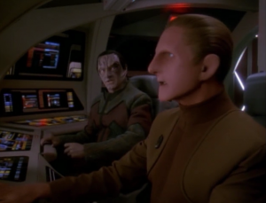 Garak and Odo become best buds because they both want to return home. That's cool. People shouldn't let torture get in the way of friendship