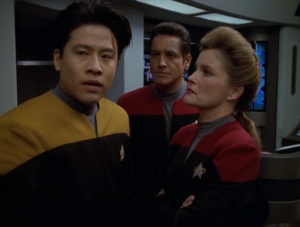 After the battle, in which B'Elanna was seriously injured, Janeway's curious to why Kim fired on them. He says he just somehow knew that they were gonna fire on Voyager