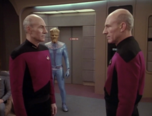 Apparently this was all an experiment to study authority. That explains some things, but why did the duplicate Picard need to sing, and ask Crusher on a date, and be weird? I think these aliens just like to mess around