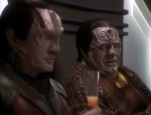 Garak and Tain reminisce about how they used to love interrogating people