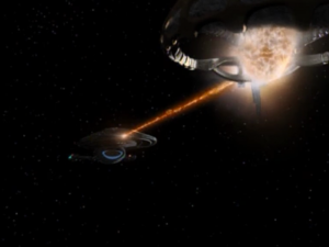 Voyager is fighting a ship and it turns out their shield information was on the data pad on the roof