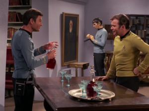 But then he invites them into his house. He has paintings that Spock someone recongizes as authentic, yet undiscovered works of Da Vinci