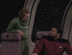 """He has an argument with what Riker is thinking. He also calls Riker """"billy boy"""""""