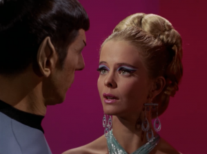 "Droxine: ""I have never before met a Vulcan, sir."" Spock: ""Nor I a work of art, madam.""  It's weird that Spock has a love interest, but it's weirder that it seems like it's mostly physical attraction that interests Spock"