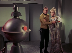 There's a robot that doesn't like it when Kirk gets close