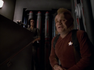 Neelix gives the elevator a name. Tuvok reminds Neelix that they could die and maybe he should get back to work, yet somehow I still get the feeling we're supposed to be taking Neelix's side on this