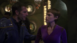 Archer gets increasingly pushy. He even grabs T'Pol's arm!