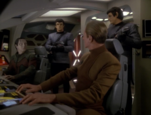 They go to see Tain (former leader of the Obsidian Order), but they're picked up by the Romulans