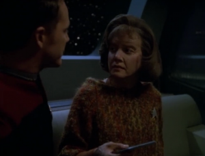 "Paris tells her about the ""Year of Hell"" and how he loved B'Elanna before she died"
