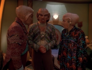 This story is mainly about the family turmoil. A lot of it involves Quark and his mom being horrible to each other. Rom tricks them into meeting with each other.