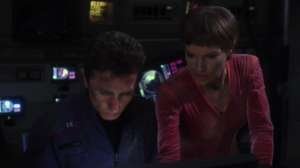 At first they were being careful not to damage the alien ship too much, because they didn't want their trip home to be any harder, but Enterprise starts to take too much damage