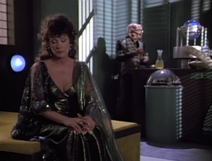 They want to use Lwaxana to read peoples' minds and make money