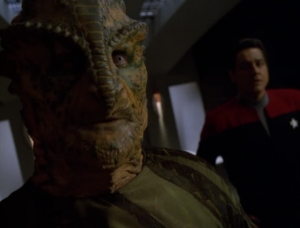 They put the scientist on trial, and they try to get him to refute his theories. Chakotay gives a speech in his defense