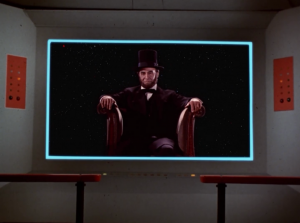 Well, there's Lincoln, sittin around in space, naturally in the exact pose as the Lincoln memorial