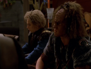 The Doctor comes home early and finds his son ready to do a Klingon ritual to become a warrior. They have a fight and it draws them further apart