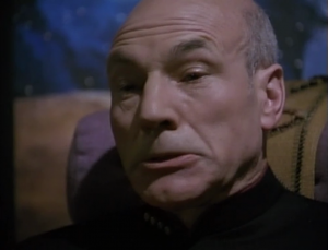 The writers figured that since they have a Patrick Stewart, they might as well come up with the most ridiculously hard scene to act, like expressing every emotion, on an intense level, simultaneously.