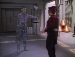 But then Data was going to shoot him! Enterprise beams him away right in time