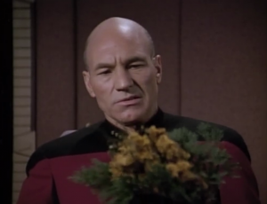 Picard smells some flowers