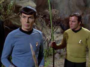 A little later they hear cries for help. Spock knows Vulcans don't do that, and it's just a trick