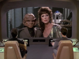 After getting Troi and Riker back, they try to get Lwaxana back, but she acts like she likes it there