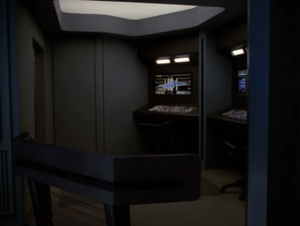 Every time an alien beams aboard one of Voyager's crew members disappears. This is where Harry Kim used to be