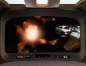 They make Enterprise think that Data blew up while transporting unstable material