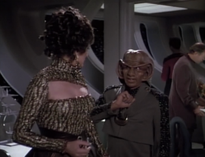 One of the Ferengi seems to really like Lwaxana. He wants to buy her