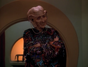 This episode expands on the concept of Ferengi sexism, which has never been interesting to me. They get mad because she's wearing clothes. Dumb