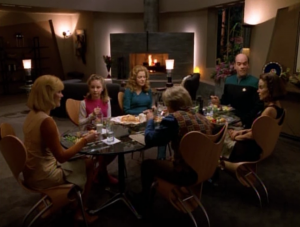 Kes and B'Elanna go to the Doctor's place for dinner to meet his family.