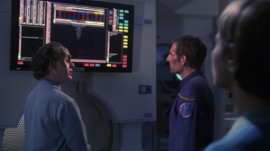 Phlox verifies that they're are the descendents of the crew. He says their captain is the son of T'Pol and Trip