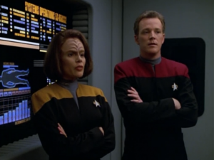 B'Elanna and Tom cross their arms