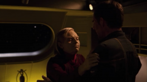 An old T'Pol is on board. She warns Archer that the modifications might be dangerous