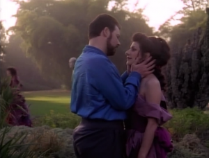 Troi told her mother that Riker is just a friend, and in one of the movies Troi says she never kissed Riker while he had a beard. Even more evidence that she's a liar