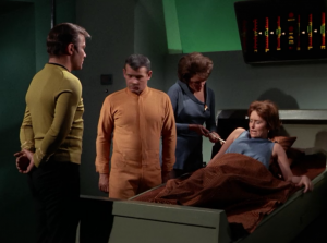 But Janice can't finish the job, and they go back to the ship. Janice tries to keep Kirk sedated