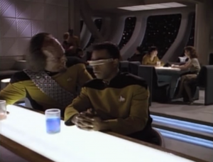 """That Christy girl is back for Geordi to fall in love with.  Worf: """"You must let her see the fire in your eyes."""" That's not what you should say to Geordi"""