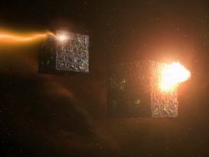 In the intro of the episode we see that something easily takes out a couple Borg cubes