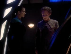Jadzia confronts Curzon. She finds out that he originally failed her out of the program because he loved her