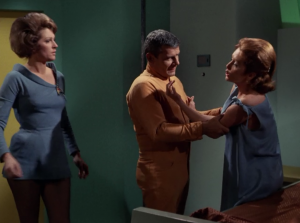 Kirk wakes up, but Chapel just thinks it's Janice going crazy