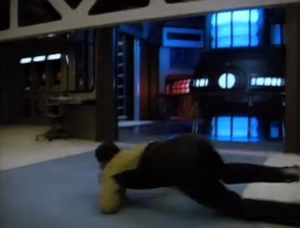 I think Geordi likes to have fun with his evacuations. He could've easily just ducked under this closing door