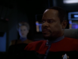 The Changeling has programed the defiant to fire on a planet, which would start a war. Sisko sets the self-destruct to go off before they get there