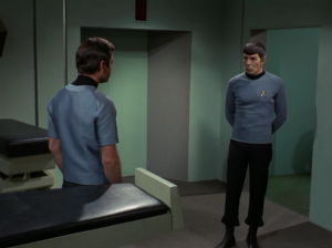 Bones and Spock realize something's up, so they form a plan to find some evidence