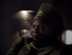 Guinan gives Picard a kind of ominous pep talk