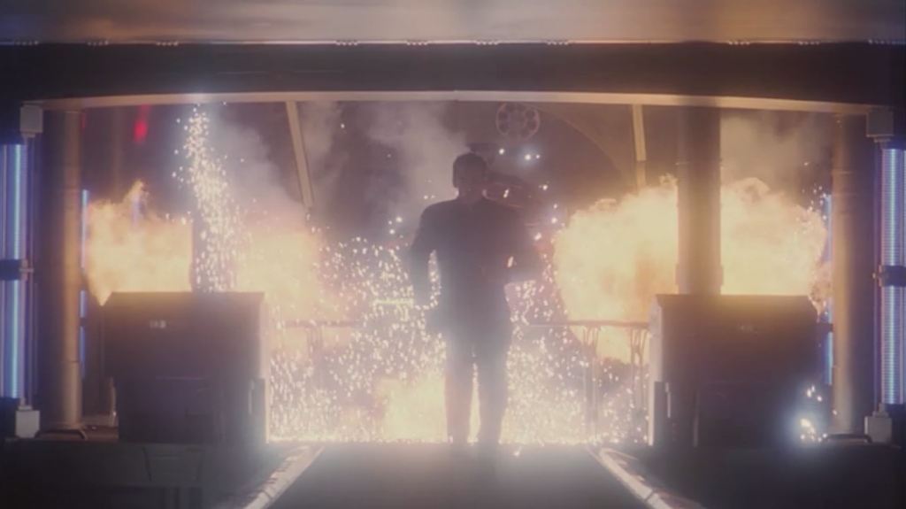 Archer runs somewhere so there can be a cool shot with explosions behind him